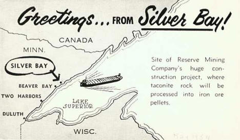 Postcard Announcement for new town, Silver Bay, 1954