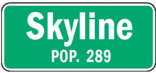 Skyline Minnesota population sign