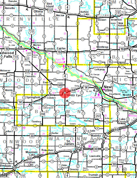 Minnesota State Highway Map of the Sleepy Eye Minnesota area