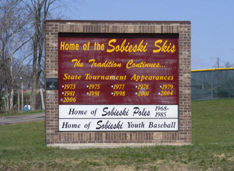 Home of the Sobieski Skis sign, Sobieski Minnesota, 2009