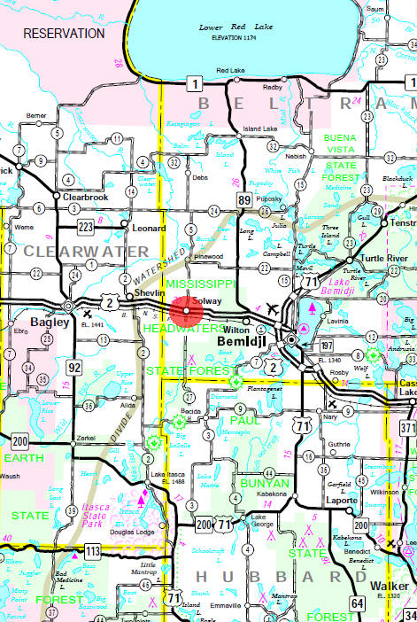 Minnesota State Highway Map of the Solway Minnesota area