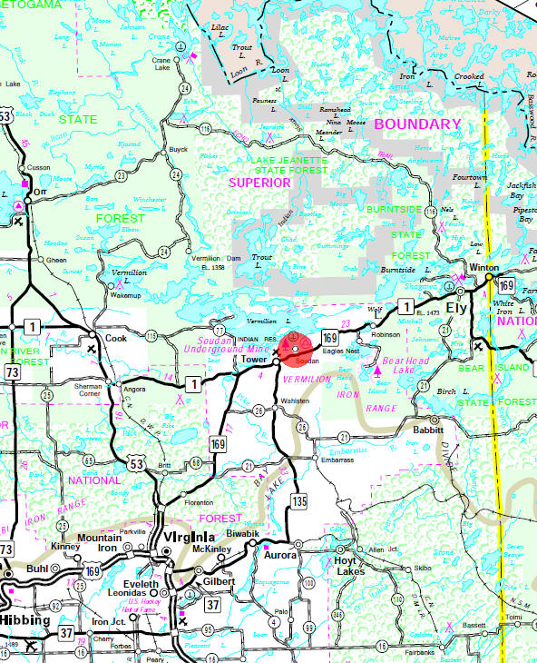 Minnesota State Highway Map of the Soudan Minnesota area
