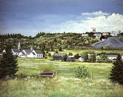 Soudan Minnesota: One of the First Iron Mines - Oil Painting by Albert Swanson, 1970