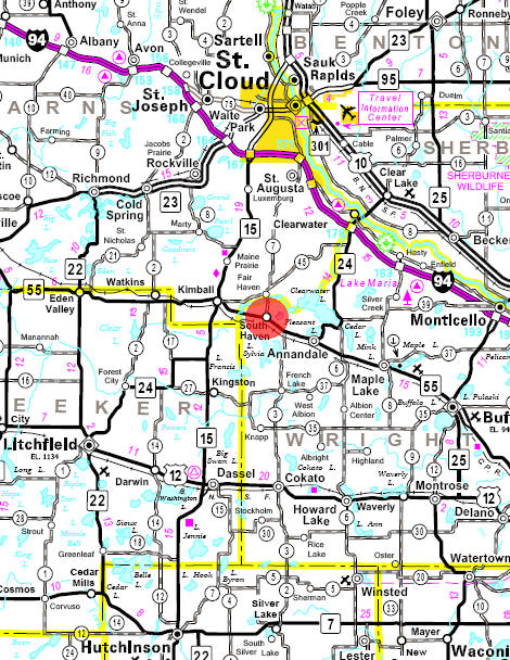 Minnesota State Highway Map of the South Haven Minnesota area