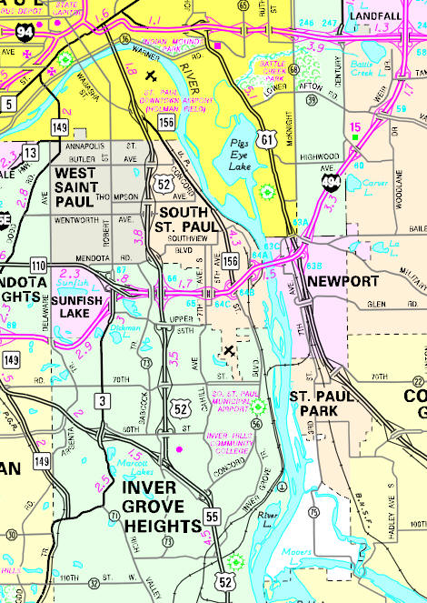 Minnesota State Highway Map of the South St. Paul Minnesota area
