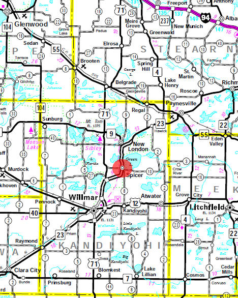 Minnesota State Highway Map of the Spicer Minnesota area