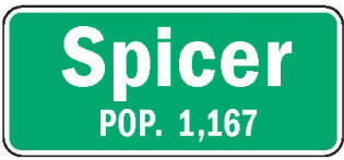 Spicer Minnesota population sign