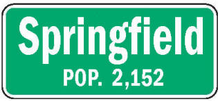 Springfield Minnesota population sign