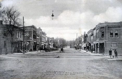 Broadway looking north from Main Street, Spring Valley Minnesota, 1912