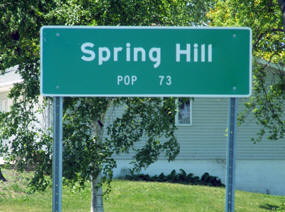 Spring Hill Minnesota population sign
