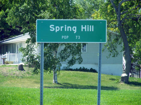 Spring Hill Minnesota population sign, 2009