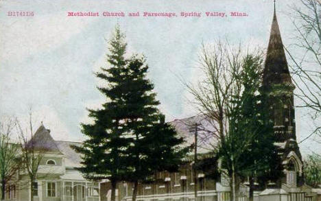 Methodist Church and Parsonage, Spring Valley Minnesota, 1910's