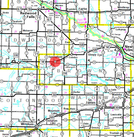 Minnesota State Highway Map of the Springfield Minnesota area