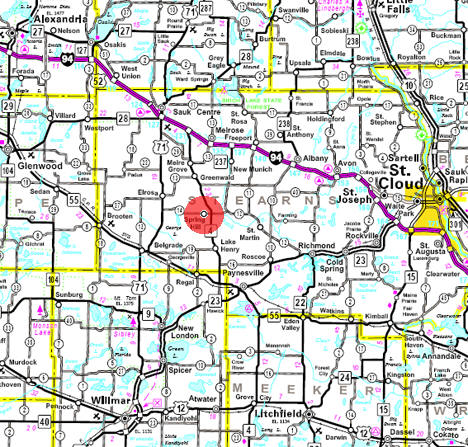 Minnesota State Highway Map of the Spring Hill Minnesota area