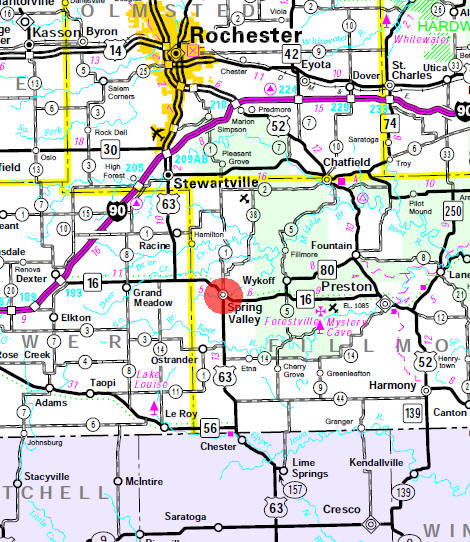 Minnesota State Highway Map of the Spring Valley Minnesota area