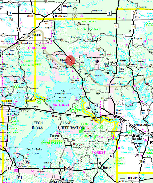 Guide to squaw lake minnesota minnesota state highway map of the squaw lake minnesota area sciox Image collections