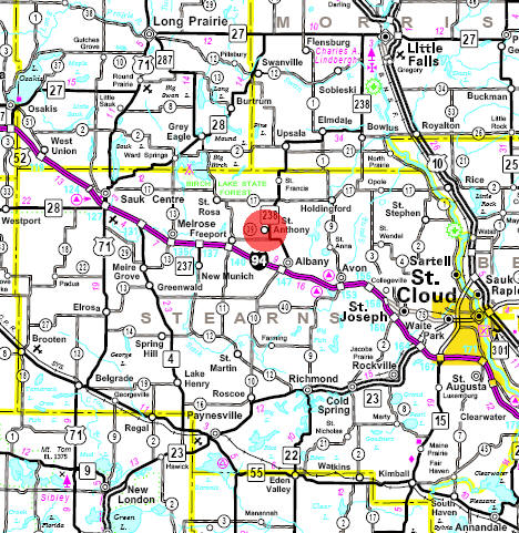 Minnesota State Highway Map of the St. Anthony Minnesota area