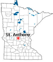 Location of St. Anthony Minnesota