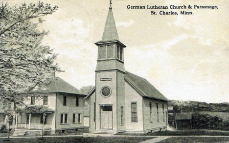 German Lutheran Church and Parsonage, St. Charles Minnesota, 1910's