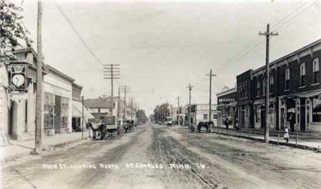 Main Street looking north, St. Charles Minnesota, 1900's