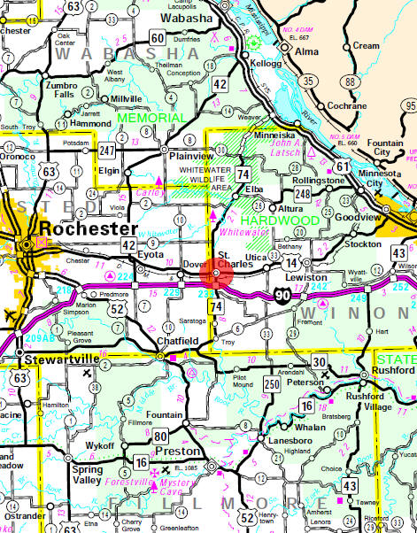 Minnesota State Highway Map of the St. Charles Minnesota area