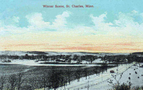 Winter scene, St. Charles Minnesota, 1910