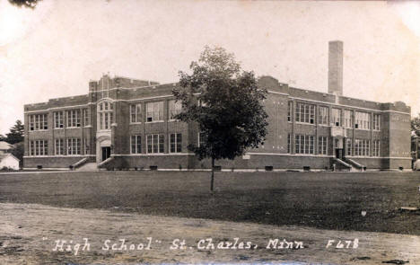 High School, St. Charles Minnesota, 1920's?