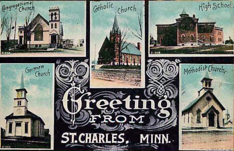 Churches, St. Charles Minnesota, 1910's