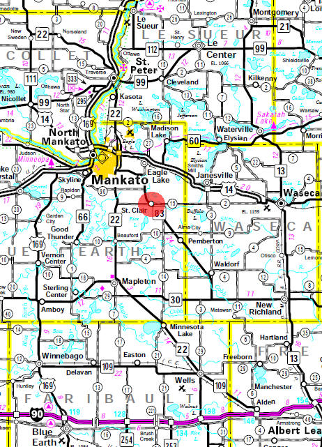 Minnesota State Highway Map of the St. Clair Minnesota area
