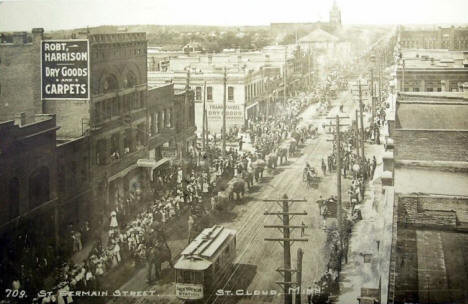 Circus parading down St. Germain Street, St. Cloud Minnesota, 1912