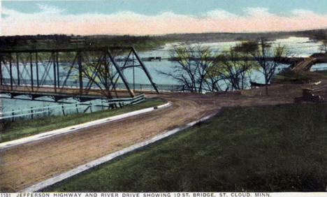 Jefferson Highway and River Drive showing 10th Street Bridge, St. Cloud Minnesota, 1920's