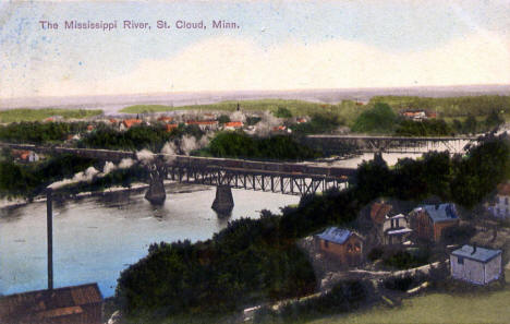View of Mississippi River and bridges, St. Cloud Minnesota, 1908