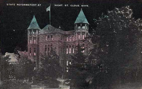 Night view, Minnesota State Reformatory, St, Cloud Minnesota, 1930's