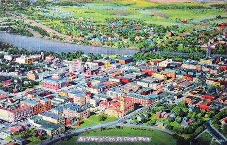 Aerial view of Downtown St. Cloud Minnesota, 1940's