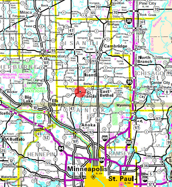Minnesota State Highway Map of the St. Francis Minnesota area