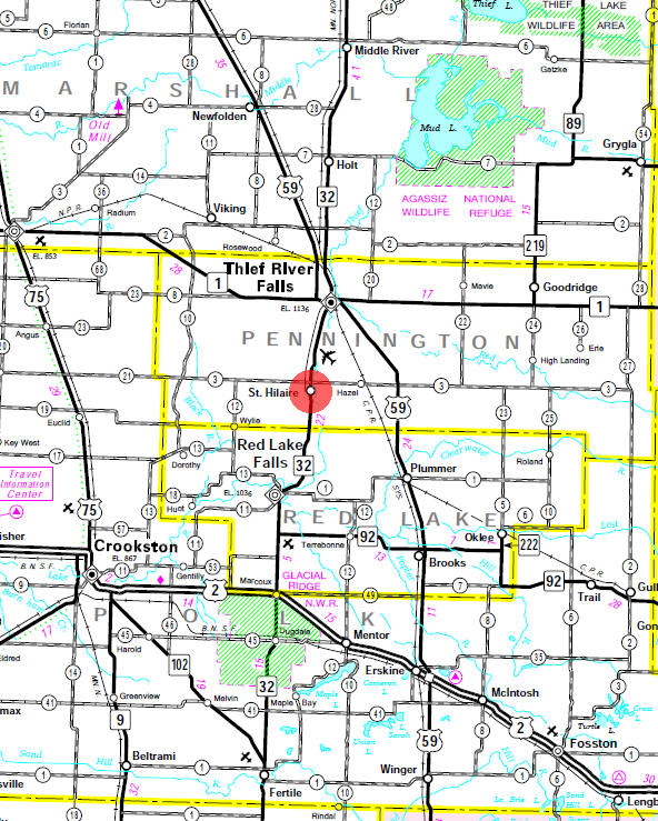 Minnesota State Highway Map of the St. Hilaire Minnesota area