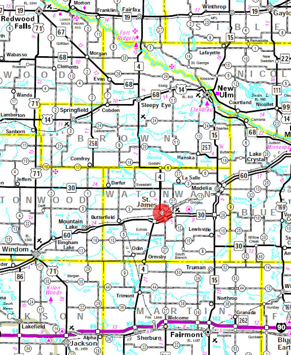 Minnesota State Highway Map of the St. James Minnesota area