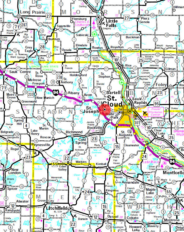 Minnesota State Highway Map of the St. Joseph Minnesota area