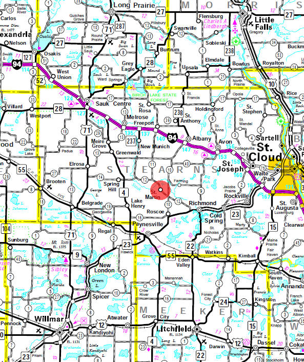 Minnesota State Highway Map of the St. Martin Minnesota area