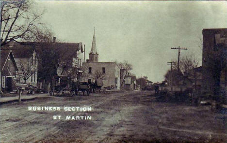 Business section, St. Martin Minnesota, 1910's?