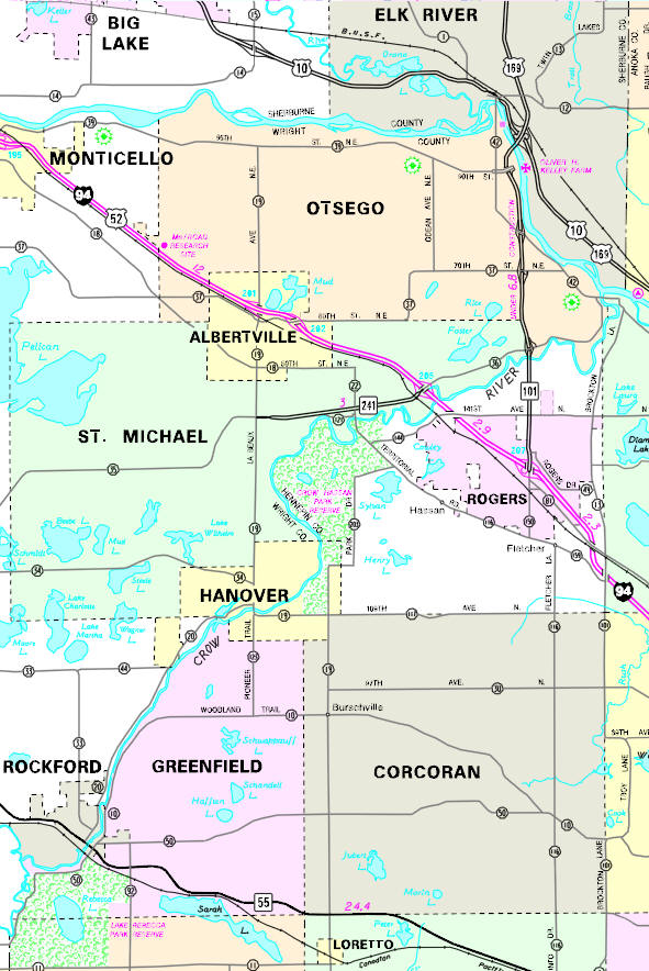 Minnesota State Highway Map of the St. Michael Minnesota area