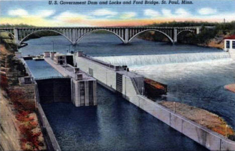 Mississippi River Locks and Dam and Ford Bridge, St. Paul Minnesota, 1940's