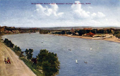 Mississippi River and Harriet Island, St. Paul Minnesota, 1910's