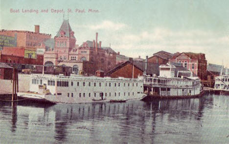 Boat Landing and Depot, St. Paul Minnesota, 1910's