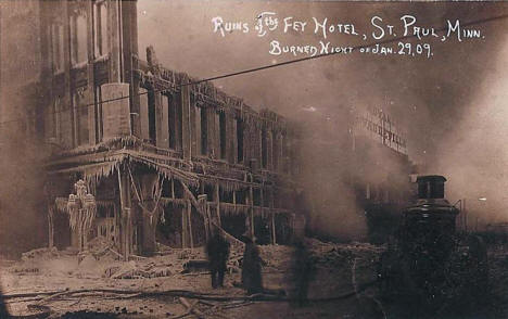 Ruins of the Fey Hotel after fire, St. Paul Minnesota, 1909