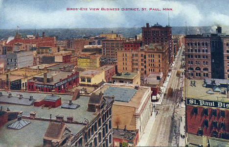 Birds eye view, Business District, St. Paul Minnesota, 1910's?