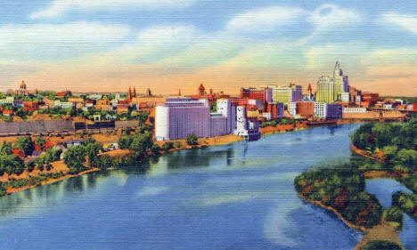 Mississippi River and St. Paul skyline, 1933