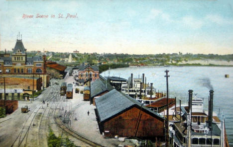 River Scene in St. Paul Minnesota, 1911