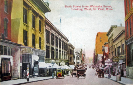 6th Street from Wabasha looking West, St. Paul Minnesota, 1910's