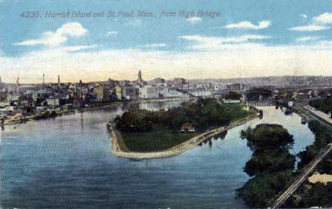 Harriet Island and St. Paul from the High Bridge, 1911